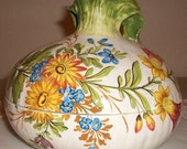 Vintage Onion Shaped Bowl, Painted and signed, Italy, Porcelain, Serving Bowl with Lid / Meiselman