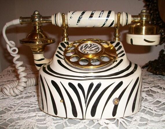 Vintage French Style Rotary Dial Zebra Print Telephone