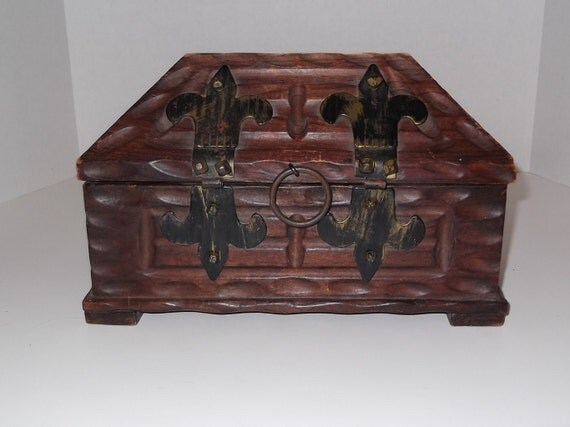 Vintage Ornate Wooden Treasure Chest Spain