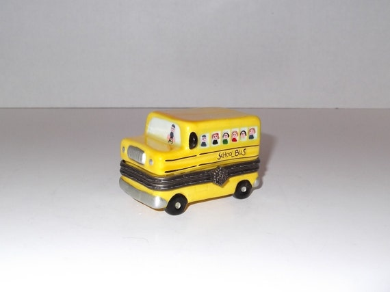 School Bus Trinket Box / Yellow School Bus / Porcelain / Bus Driver Gift