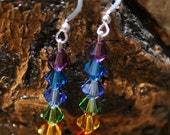 Vibrant Rainbow Swarovski Crystal Bicone and Sterling Silver Chakra Earrings Pride Health