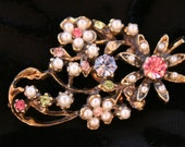 Gorgeous Floral Pastel Rhinestone and Seed Pearl Vintage Brooch Spring Fashion