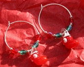 Glass Christmas Stocking and Fire Polished Silver Plated Hoop Earrings Great Christmas Gift Idea