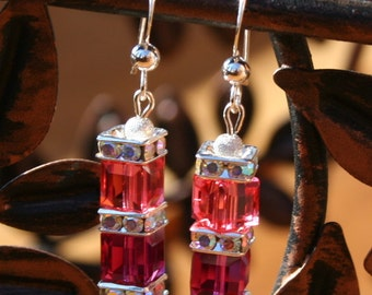 Handmade Swarovski Crystal Cube Indian Pink and Fuchsia Earrings Spring Fashion Great Gift Idea