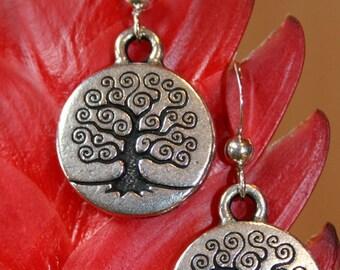 Handmade Silver Spiral Tree of Life Earrings