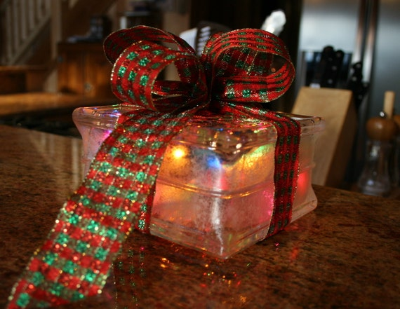 Colored Lights Glass Block Christmas Gift with Red and Green Glittery Plaid Bow Lighted Christmas Block Night Light