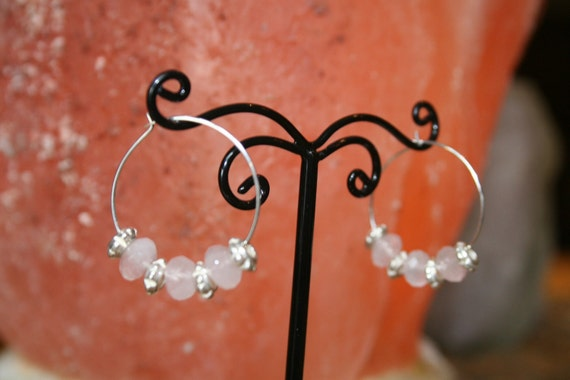 Rose Quartz Faceted Rondelle and Silver Plated Hoop Earrings Great Valentine's Day Gift Idea