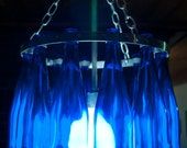 Wine Bottle Chandelier- Blue Moon-Stainless Steel with Cobalt Blue Bottles