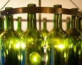 "18"" Bordeaux Wine Bottle Chandelier, Emerald Green with Black Wrought Iron"