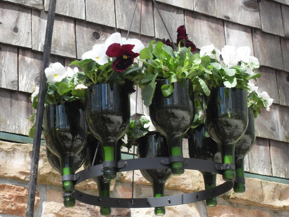 Items similar to recycled wine bottle hanging herb garden for How to use wine bottles in the garden