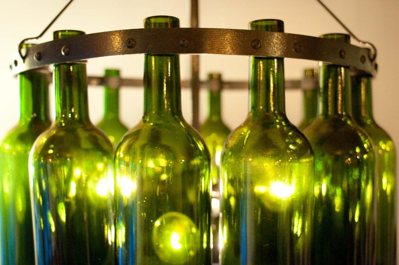 18 bordeaux wine bottle chandelier emerald by rainvilledesigns - Wine bottles chandelier ...