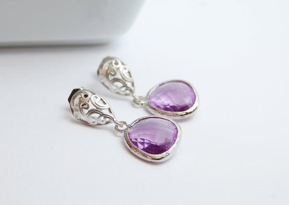 Purple Dangle Earrings, Silver
