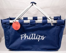Personalized Navy Market Tote, Picnic Basket, Monogram Market Tote, Monogram Picnic Basket, Monogrammed Tote