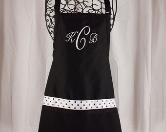 Monogrammed Apron Black, Kitchen Apron, Personalized Apron, Ladies Apron