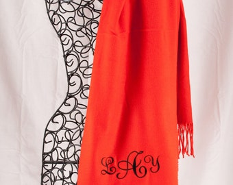 Personalized Scarf    Monogrammed Scarf    Red Scarf    Embroidered Scarf