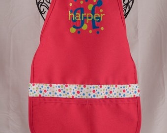 Monogrammed Child Apron - Hot Pink Personalized Apron - Personalized Kid Apron - Child Gift - Embroidered Apron
