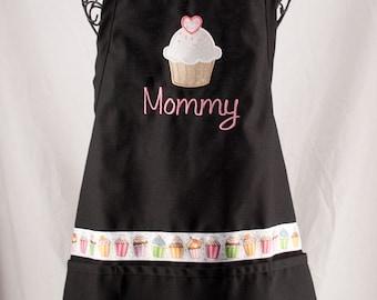 Personalized Cupcake Apron Black Monogrammed Ladies