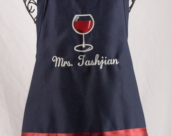 Personalized Apron Red Wine Glass
