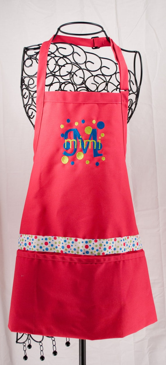 Monogrammed Apron Hot Pink Personalized