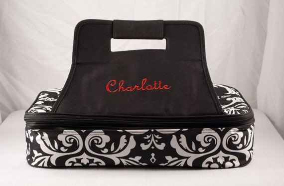 Personalized Casserole Carrier Double Insulated Damask  Embroidered