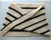 Striped Cream & Black Bulky Crochet Cowl or Hood