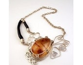 Jungle Ocean Amber- Colombian Amber and Black Coral Sterling Silver necklace