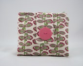 Zipper Pouch Wallet, Cotton, Cream, Pink, Green, Wandering Vine Print