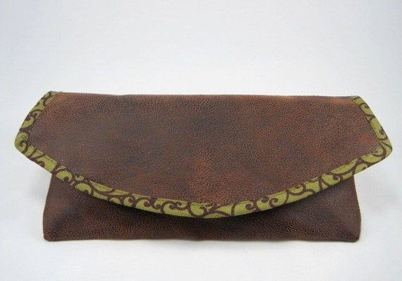 Faux Leather Clutch, Brown, Green, from Poe-Poe' Purses