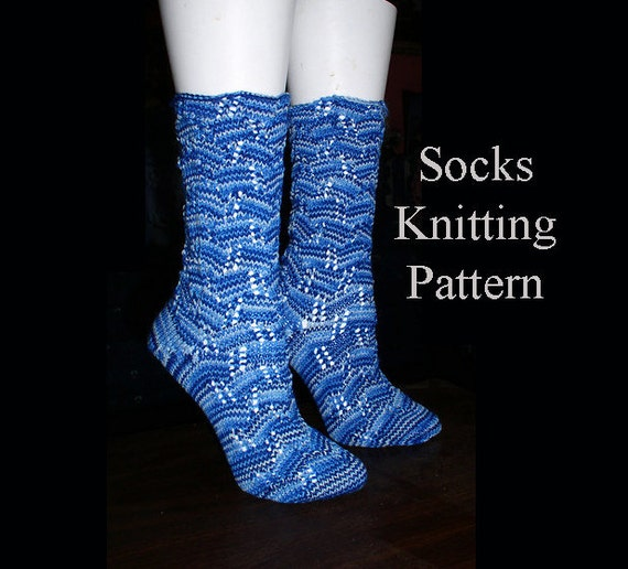 Knitting Pattern Sock Short Row Heel : Pattern knit Sock knitting pattern socks lace by ArtfulExcursions