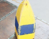 Reserved for Heather Navy Yellow Buoy Vintage Style  Nautical Wooden by SEASTYLE
