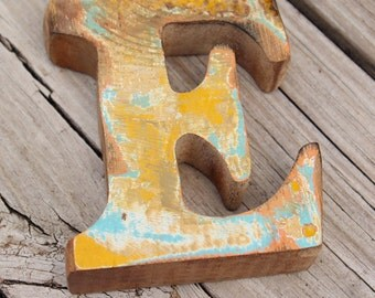 Letter E Beach Decor Vintage Nautical Wooden by SEASTYLE