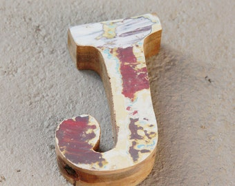 Beach Decor Wooden Letter J Vintage Style Nautical by SEASTYLE