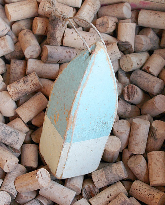 Beach Decor  Light Blue Lobster Buoy Vintage Style Nautical Wooden by SEASTYLE