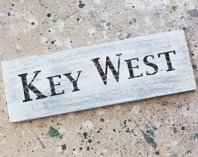 Beach decor KEY WEST sign Nautical Wooden Distressed by SEASTYLE