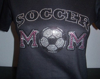 Soccer Mom Pink and Clear Bling Shirt