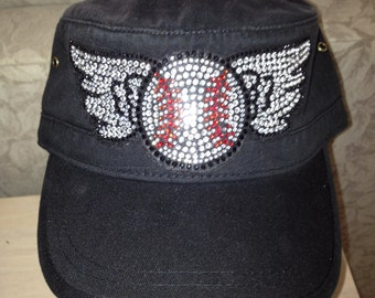 Bling Baseball with Wings Embellished Corps Style (MI) Cotton Hat