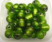 6 PCS Green handmade bead