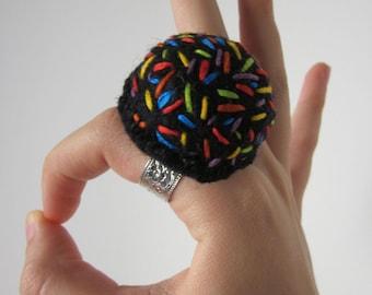 Black Wool Felt Finger Pincushion With Sprinkles Or Statement Art Ring