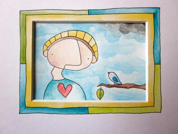 SALE - Pen and Watercolor Original Artwork With Custom Mat - Man & Bird