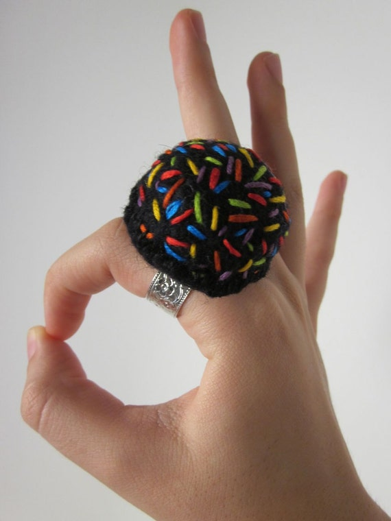 RESERVED: Brenda W - Black Wool Felt Finger Pincushion With Sprinkles