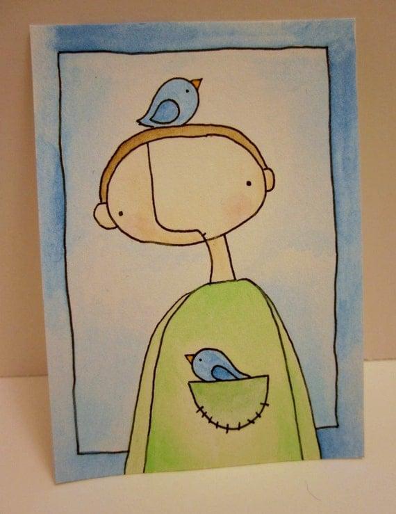 Man With Two Birds Original Illustration - AECO