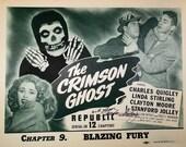 Crimson Ghost 1946 Vintage Movie Poster.Linda Stirling Autograph.