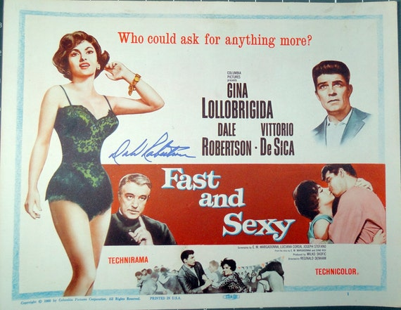 Vintage Movie Poster . 1953 Fast and Sexy Title Lobby Card Gina Lollobrigida. with Dale Robertson In-Person Autograph.