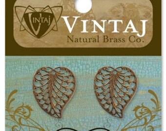Free US shipping vintaj brown Filigree Leaf Charm 19x16mm(Set of 2) below normal retail