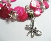 Hot Pink Necklace - butterfly pendant