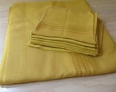 RESERVED for meagan.  Vintage Mustard Yellow Tablecloth and 12 napkins