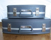 Set of Two Vintage Grey Suitcases