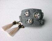 Grey Seeds Cuff Bracelet