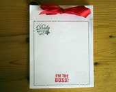 Office Humor Handmade Note Pad with Ribbon 48 Sheets