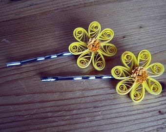 Quilled Yellow Flower Hair Silver Bobby Pins Clips Set of 2